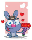 Romantic blue bunny holding a bouquet Royalty Free Stock Images
