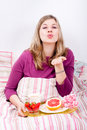 Romantic breakfast in bed Royalty Free Stock Photo