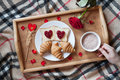 Romantic breakfast in bed with rose flower and Royalty Free Stock Photo