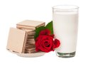 Romantic breakfast for st valentine s day over white background Royalty Free Stock Images