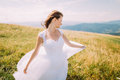 Romantic bride posing in white gown on the golden autumn field with small flowers. Hill landscape at background Royalty Free Stock Photo