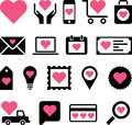 Romantic business icons illustrated set of web with love hearts white background Royalty Free Stock Image