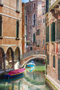 Romantic canal and bridge in center of Venice, Italy Stock Photography