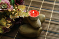 Romantic candle stick with beautiful flower decoration. Royalty Free Stock Photo