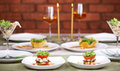 Romantic candlelight dinner for two Royalty Free Stock Photos
