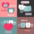 Romantic card design set with pretty cats