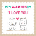 Romantic card with dog and cat for valentine day Royalty Free Stock Photography