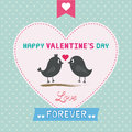 Romantic card with two birds for valentine day Royalty Free Stock Photo