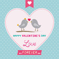 Romantic card with two birds for valentine day Royalty Free Stock Photography