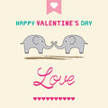 Romantic card with two elephants Royalty Free Stock Photo