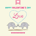 Romantic card with two elephants Royalty Free Stock Photos