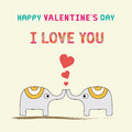Romantic card with two elephants for valentine day Royalty Free Stock Photo