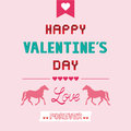 Romantic card with two horses for valentine day Royalty Free Stock Image