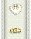 Romantic card for a wedding with wedding rings Royalty Free Stock Photo