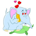 Romantic cartoon elephant and lovely talking on the telephone about his passionate love on a valentine s day Royalty Free Stock Photos