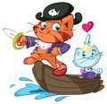 Romantic cartoon pirate cat illustration of cats sailing boat white background Royalty Free Stock Photography