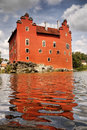 Romantic castle chateau palace landmark bohemia old red built on an island national historic cervena lhota called water is one of Royalty Free Stock Image