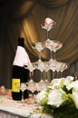Romantic champagne tower Royalty Free Stock Images