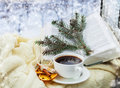 Romantic christmas still ife with cup of coffee and aromatic decoration Stock Image