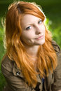 Romantic closeup portrait of a young redhead. Stock Photography