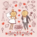 Romantic collection cute wedding vector set cartoon newlyweds cartoon Stock Photography