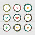 Romantic collection with hand drawn round frames. Doodle ethnic design elements. Decorative floral elements Royalty Free Stock Photo