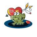 Romantic composition. Frog princess, heart and magic arrow