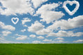 The romantic concept with clouds on sky