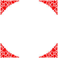 Romantic corner border on white background. Decorative frame with small red hearts. Royalty Free Stock Photo