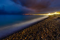 Romantic Cote d'Azure Beach at Night, Nice, French Royalty Free Stock Image