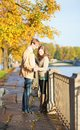 Romantic couple on an autumn day a beautiful Stock Photos