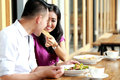 Romantic couple dating and having lunch together Royalty Free Stock Photo