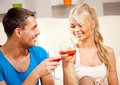 Romantic couple drinking wine picture of happy focus on woman Royalty Free Stock Photo