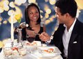 Romantic couple eating sushi portrait of at dinner Royalty Free Stock Image