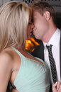 Romantic couple firep kiss close Royalty Free Stock Photos