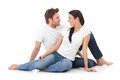 Romantic couple giving each other the eye smiling Royalty Free Stock Photos
