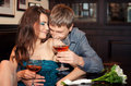 Romantic couple having dinner Stock Photo