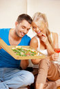 Romantic couple having dinner bright picture of happy Royalty Free Stock Photography