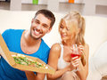 Romantic couple having dinner bright picture of happy focus on man Royalty Free Stock Photo
