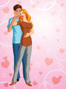 Romantic couple an illustration of a with hearts around them Royalty Free Stock Photography