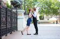 Romantic couple kissing near Hotel de Ville Royalty Free Stock Photos