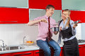 Romantic couple at kitchen Royalty Free Stock Photos