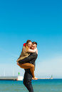 Romantic couple in love having fun on beach Royalty Free Stock Photo