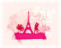 Romantic couple in Paris kissing near the Eiffel T Royalty Free Stock Photo