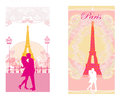 Romantic couple in paris kissing near the eiffel tower retro card set Royalty Free Stock Photo