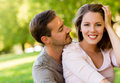 Romantic couple at the park Stock Images