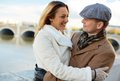 Romantic couple portrait of happy urban spending time together outside Royalty Free Stock Image