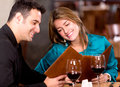 Romantic couple at a restaurant Royalty Free Stock Photos