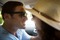 Romantic couple traveling in car Royalty Free Stock Photo