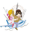 Romantic couple travels by airplane to the sights pisa eiffel towel london usa cartoon boy and girl Stock Image